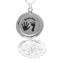 Large Circular Hand or Foot Print Locket - Silver Background - Unique Baby Keepsake Gift